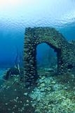 Remains of Submerged Mill, Lago Di Capo D'Acqua, Capestrano, Aquila, Abruzzo, Italy, May 2006 Photographic Print by Franco Banfi