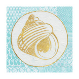 Summer Shells III Teal and Gold Art by Kathrine Lovell