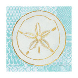 Summer Shells I Teal and Gold Prints by Kathrine Lovell
