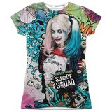 Juniors: Suicide Squad- Harley Psychedelic Graffiti Womens Sublimated