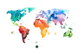 Hand Drawn Watercolor World Map Aquarelle Illustration. Posters by  undrey