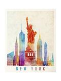 New York Landmarks Watercolor Poster Posters af  paulrommer