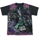 Youth: Suicide Squad- Enchantress Psychedelic Graffiti Black Back T-Shirt
