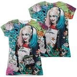 Juniors: Suicide Squad- Harley Psychedelic Graffiti (Front/Back) Womens Sublimated