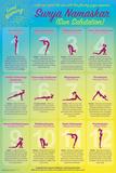 Wake Up With Surya Namaskar (Yoga Sun Salutation) Posters