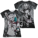 Juniors: Suicide Squad- Tunnel Vision Harley (Front/Back) T-Shirt