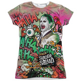 Juniors: Suicide Squad- Joker Psychedelic Graffiti Womens Sublimated