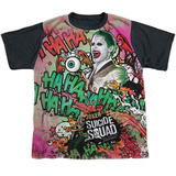 Youth: Suicide Squad- Joker Psychedelic Graffiti Black Back T-Shirt