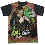 Suicide Squad- Killer Croc Psychedelic Graffitti Black Back Shirts