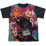 Youth: Suicide Squad- Deadshot Psychedelic Graffiti Black Back T-shirts
