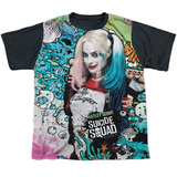 Youth: Suicide Squad- Harley Psychedelic Graffiti Black Back T-shirts