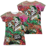 Juniors: Suicide Squad- Joker Psychedelic Graffiti (Front/Back) Womens Sublimated