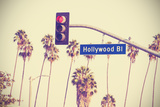Vintage Retro Toned Hollywood Boulevard Sign, Los Angeles. Photographic Print by Maciej Bledowski