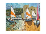Launching Boats, Calella De Palafrugell, Spain Giclee Print by Andrew Macara