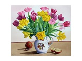 Tulips in Jug with Apples Giclee Print by Christopher Ryland