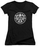 Juniors: Supergirl- DEO Badge V-Neck Womens V-Necks