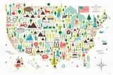 Illustrated USA Posters van Michael Mullan