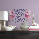 Kathy Davis Create A Life Floral Quote Peel and Stick Giant Wall Decals Wall Decal