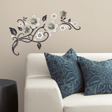 Floral Scroll Peel and Stick Wall Decals w/ 3D Cutout Flowers Wall Decal