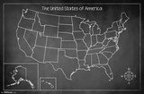 United States Of America Chalk Map Prints