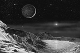 Pluto And Charon - Noir Giclee Print by David A Hardy