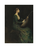 Lady with a Lute Premium Giclee Print by Thomas Wilmer Dewing
