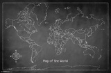 The World Chalk Map Prints
