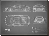 Audi R8 V10-Grey Stretched Canvas Print by Mark Rogan