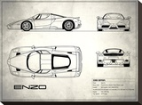 Ferrari Enzo White Stretched Canvas Print by Mark Rogan