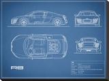 Audi R8 V10-Blue Stretched Canvas Print by Mark Rogan