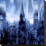 NYC - Reflections in Blue I Stretched Canvas Print by Kate Carrigan