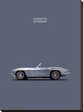 Corvette 1965 Grey Stretched Canvas Print by Mark Rogan