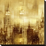 NYC - Reflections in Gold II Stretched Canvas Print by Kate Carrigan