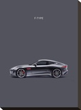 Jaguar F-Type Grey Stretched Canvas Print by Mark Rogan
