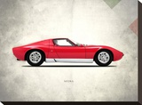 Lamborghini Miura P400 1967 Stretched Canvas Print by Mark Rogan