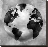 Silver Globe Stretched Canvas Print by Russell Brennan