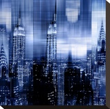 NYC - Reflections in Blue II Stretched Canvas Print by Kate Carrigan