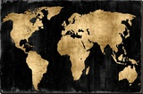 The World - Gold on Black Stretched Canvas Print by Russell Brennan