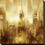 NYC - Reflections in Gold I Stretched Canvas Print by Kate Carrigan