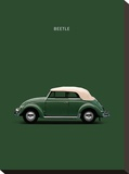 VW Beetle Green 53 Stretched Canvas Print by Mark Rogan
