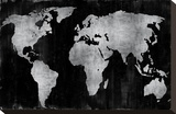 The World - Silver on Black Stretched Canvas Print by Russell Brennan