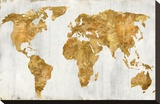 The World In Gold Stretched Canvas Print by Russell Brennan