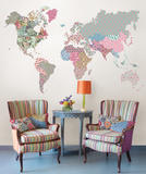 Boho World Map Super Wall Art Kit Wall Decal
