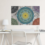 Shangri-La Mandala Coloring Wall Decal Decalques de parede
