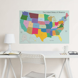 USA Map Coloring Wall Decal Wall Decal