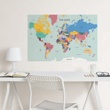 World Map Coloring Wall Decal Decalques de parede