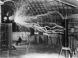 Bolts of Electricity Discharging in the Lab of Nikola Tesla Photographic Print by  Stocktrek Images