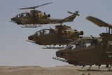 Formation Landing of Ah-1 Tzefa Helicopters from the Israel Air Force Photographic Print by  Stocktrek Images