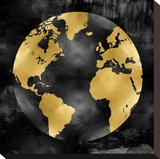 The Globe Gold on Black Stretched Canvas Print by Russell Brennan