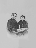President Abraham Lincoln and His Son Tad Lincoln Looking at a Book Photographic Print by  Stocktrek Images